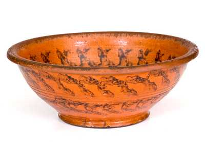 Fine Redware Bowl with Sponged Manganese Decoration, Maryland or Pennsylvania