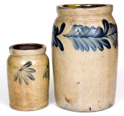Lot of Two: 1/4 Gal. and 1 1/2 Gal. Stoneware Jars att. Richard Remmey, Philadelphia, PA