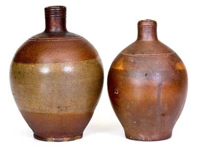Lot of Two: Small-Sized Stoneware Jugs with Iron-Oxide Dip, Charlestown, MA origin