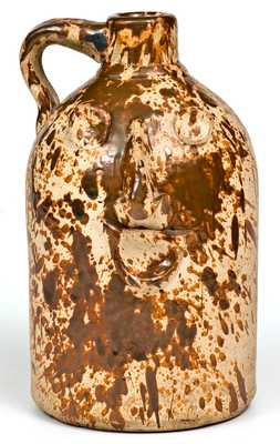 Unusual Stoneware Face Jug w/ Spattered Decoration, Midwestern origin