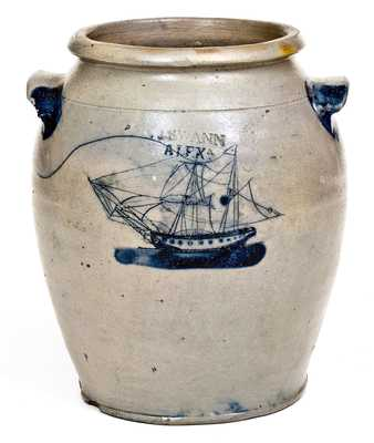 J. SWANN / ALEXA (Alexandria, Virginia) Stoneware Jar w/ Elaborate Ship Design