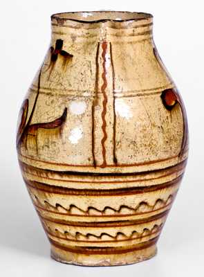 Rare Slip-Decorated Redware Pitcher, Alamance County, NC, late 18th or early 19th century.