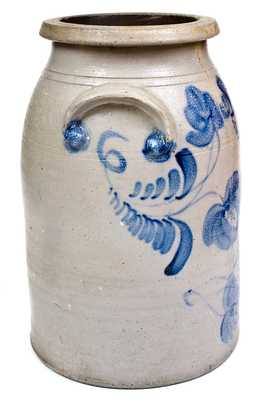 Rare Four-Gallon Stoneware Jar with Elaborate Cobalt Floral Decoration, Stamped