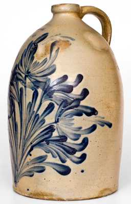 Fine M. &. T. MILLER /NEWPORT, PA Stoneware Jug with Elaborate Cobalt Floral Decoration, Four-Gallon, circa 1870.