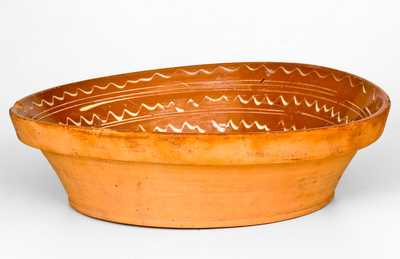 Unusual 1834 Slip-Decorated American Redware Bowl
