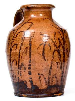 Outstanding Tennessee Redware Jar with Elaborate Manganese Cornstalk Decoration