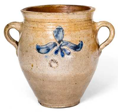 1/2 Gal. Vertical-Handled Stoneware Jar with Incised Decoration, Manhattan, circa 1790