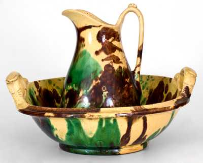Shenandoah Valley Multi-Glazed Redware Pitcher and Bowl Set