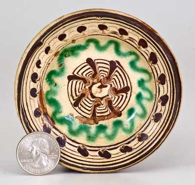 Rare and Important Miniature Slip-Decorated Redware Bowl, Henry Adam, Hagerstown, MD c1815