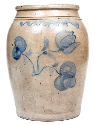 Pruntytown, West Virginia Stoneware Canning Jar w/ Cobalt Floral Decoration