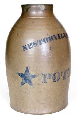 Very Rare Nestorville, West Virginia Stoneware Canning Jar with Stenciled Stars
