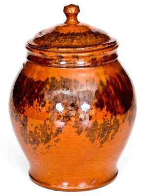 Outstanding I. BELL Redware Lidded Jar with Sponged Manganese Decoration
