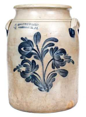 4 Gal. COWDEN & WILCOX / HARRISBURG, PA Stoneware Jar with Floral Decoration