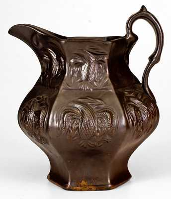 Molded Stoneware Pitcher w/ Eagle Motif, American Pottery Manufacturing Co, Jersey City