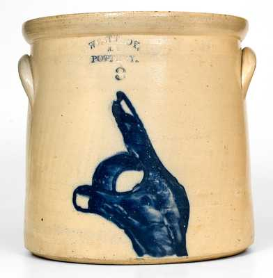 Very Rare WEST TROY / N.Y. / POTTERY Stoneware Crock w/ Cobalt Pointing Hand