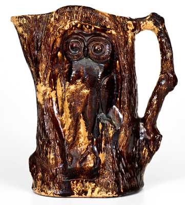 Unusual Rockingham Owl Pitcher Inscribed