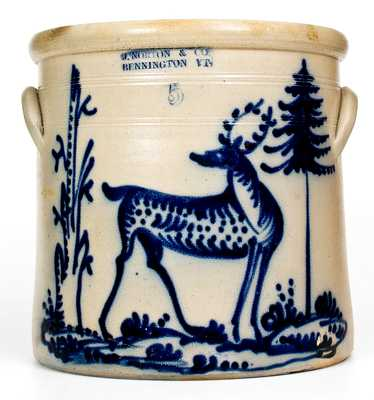 J. NORTON & CO. / BENNINGTON, VT Stoneware Deer Crock