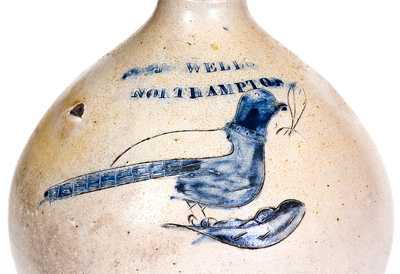 Very Rare J. WELLS / NORTHAMPTON Incised Bird Jug (T. CRAFTS / WHATELY, MA)