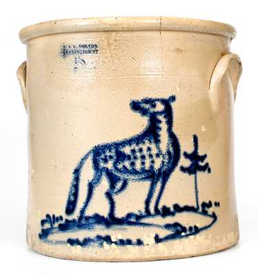 Rare J. & E. NORTON / BENNINGTON, VT Stoneware Crock w/ Dog Decoration