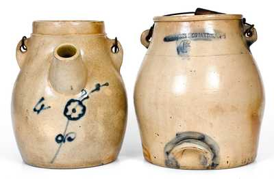 Two Cobalt-Decorated Stoneware Batter Pails, NY State origin, circa 1870