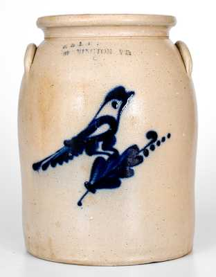 2 Gal. E. & L. P. NORTON / BENNINGTON, VT Stoneware Jar w/ Bird Decoration