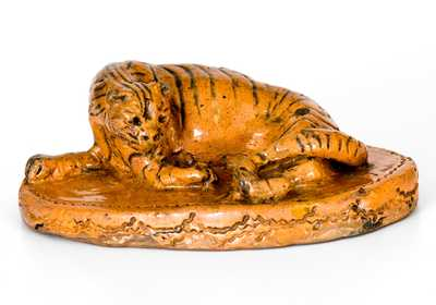 Rare Glazed Berks County, PA Redware Figure of a Tiger