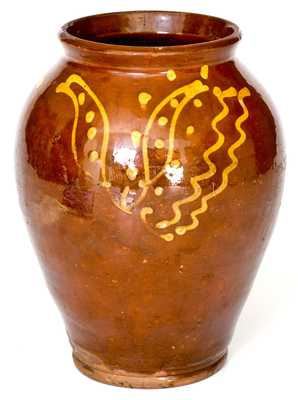 Rare and Fine Glazed PA Redware Jar with Elaborate Yellow-Slip Tulip Decoration