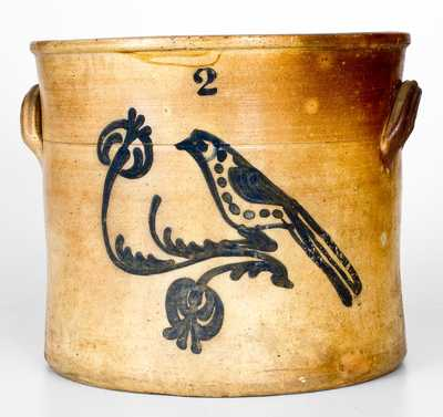 Two-Gallon Stoneware Crock with Cobalt Bird Decoration, New England origin, third quarter 19th century.
