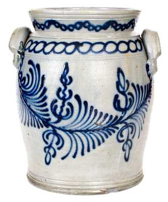 Exceptional and Important B.C. MILBURN / ALEXA Stoneware Jar w/ Profuse Slip-Trailed Cobalt Decoration (Alexandria, VA)