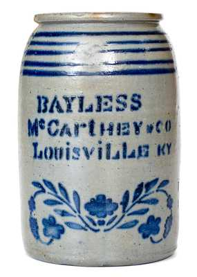 Rare attrib. J.H. Miller / Brandenburg, KY Stoneware Canning Jar w/ MAYSVILLE Advertising