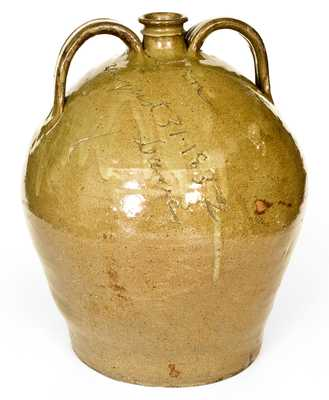Important Double-Handled Stoneware Jug by Dave (August 31, 1852), Edgefield District, SC