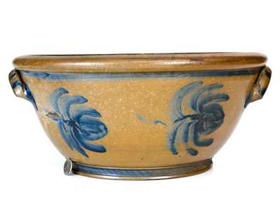 Extremely Rare Large-Sized Palatine, WV Stoneware Bowl with Freehand Cobalt Decoration