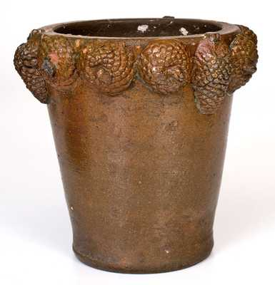 Extremely Rare Stoneware Flowerpot w/ Applied Pine Cones, David Greenland Thompson, Morgantown, WV