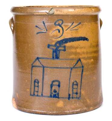 Very Rare Stoneware Crock w/ Cobalt Church Decoration, att. S.A. Colvin and Sons, Jane Lew, WV, circa 1880