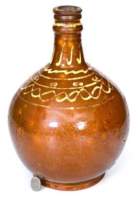 Exceedingly Rare and Important 18th Century New England Redware Bottle, probably Charlestown, MA