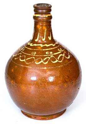 New England Slip-Decorated Redware Bottle, probably Charlestown, MA, 18th century