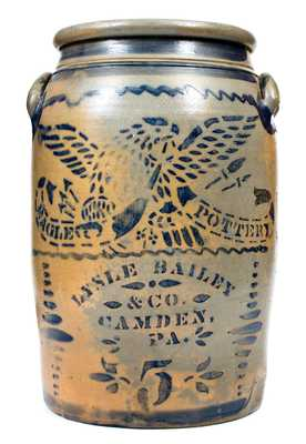 Very Fine CAMDEN, PA Western PA Stoneware Advertising Jar w/ Bold Stenciled Eagle Decoration