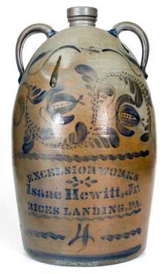 Rare and Fine Isaac Hewitt, Jr. / RICES LANDING, PA Double-Handled Stoneware Jug