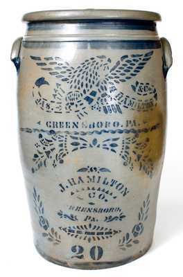 Exceptional 20 Gal. JAS. HAMILTON & CO. / GREENSBORO, PA Stoneware Eagle Crock