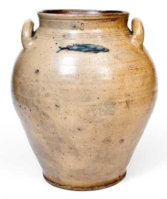 Three-Gallon Stoneware Jar with Impressed Fish and Two-Color-Slip Decoration, attributed to Frederick Carpenter, Boston, MA, late 18th century