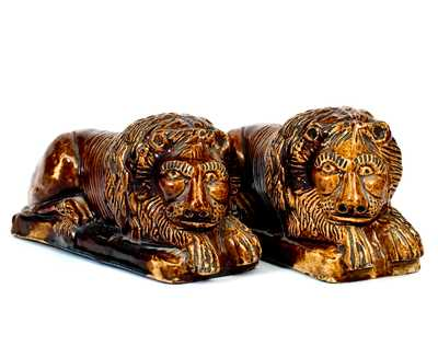 Rare Pair of Rockingham Lion Figures, att.. James Haig and Thomas Haig, Jr., Philadelphia, January 10, 1872