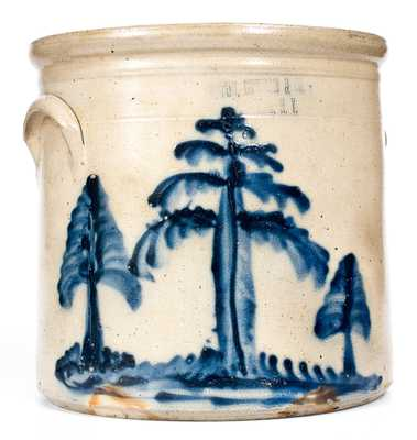 Very Fine HAXSTUN, OTTMAN & CO. / FORT EDWARD, NY Stoneware Crock w/ Tree Decoration