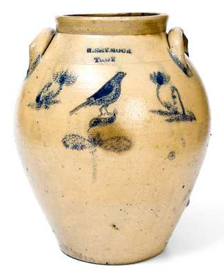 Rare R. SEYMOUR / TROY Stoneware Jar with Incised Bird Decoration