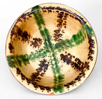 Outstanding North Carolina Moravian Redware Bowl w/ Multi-Colored Slip Decoration