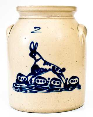 Very Rare 2 Gal. Stoneware Rabbit Jar, attrib. Albany, New York