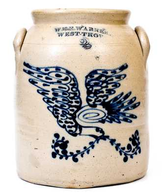 WM. E. WARNER. / WEST-TROY, NY Two-Gallon Stoneware Jar with Cobalt Eagle Decoration