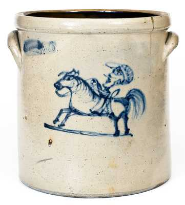 C.W. BRAUN / BUFFALO. N.Y. Stoneware Crock with Cobalt Horse and Jockey Decoration