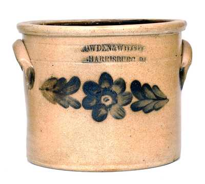 COWDEN & WILCOX / HARRISBURG, PA Stoneware Crock with Floral Decoration