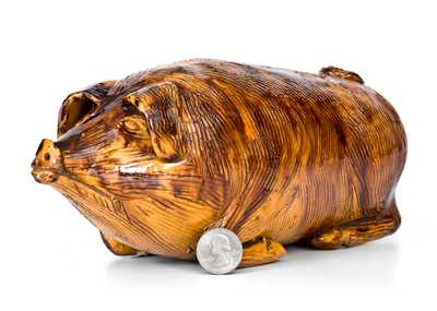 Extremely Rare Berks County, Pennsylvania Redware Pig Flask, Henne Family, Bern Township, 1830-60