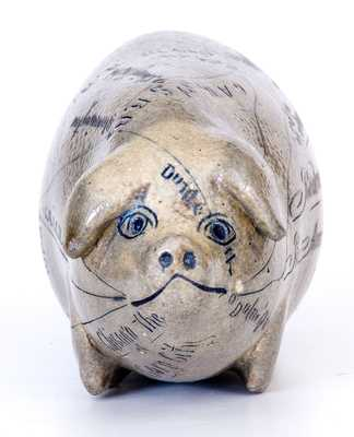Exceptional Anna Pottery / 1882 Salt-Glazed Stoneware Pig Flask